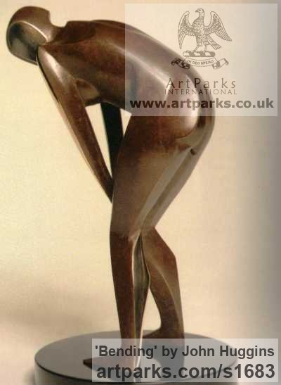 Bronze Females Women Girls Ladies sculpture statuettes figurines sculpture by sculptor John Huggins titled: 'Bending'