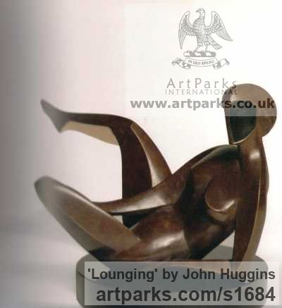 Bronze Females Women Girls Ladies sculpture statuettes figurines sculpture by sculptor John Huggins titled: 'Lounging'