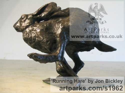 Bronze Field Sports, Game Birds and Game Animals sculpture by sculptor Jon Bickley titled: 'Running Hare (Little Fleeing Sprinting Running statues)'