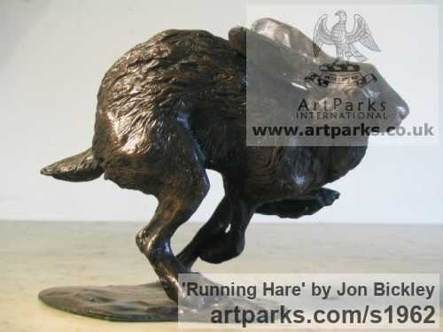 Bronze Field Sports, Game Birds and Game Animals sculpture by sculptor Jon Bickley titled: 'Running Hare (Little Fleeing Sprinting Running statues)' - Artwork View 2