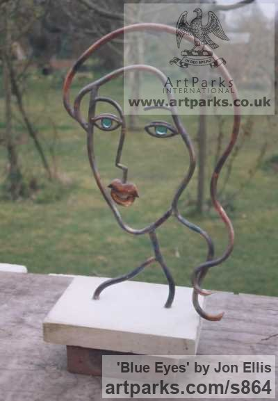Copper/Glass Garden Or Yard / Outside and Outdoor sculpture by sculptor Jon Ellis titled: 'Blue Eyes'