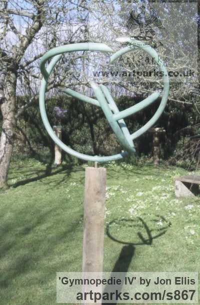 Copper, Verdigris wax, gold leaf Garden Or Yard / Outside and Outdoor sculpture by sculptor Jon Ellis titled: 'Gymnopedie IV' - Artwork View 1