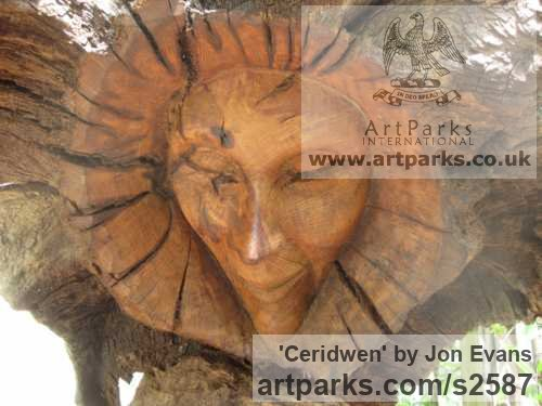 Oak & slate Garden Or Yard / Outside and Outdoor sculpture by sculptor Jon Evans titled: 'Ceridwen (Semi Natural CarvedTree trunk Wood Witch sculpture carving)' - Artwork View 2