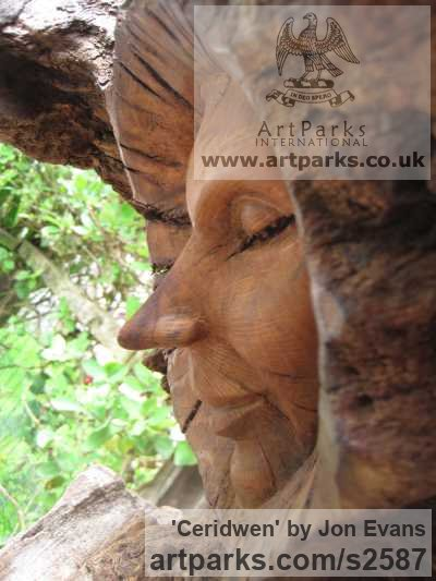 Oak & slate Garden Or Yard / Outside and Outdoor sculpture by sculptor Jon Evans titled: 'Ceridwen (Semi Natural CarvedTree trunk Wood Witch sculpture carving)' - Artwork View 4