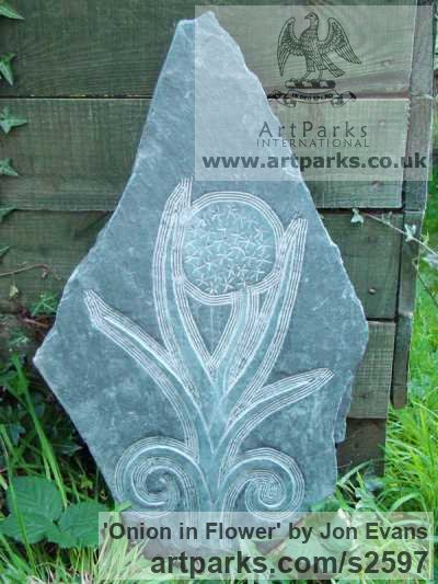 Hand carved Aberllefenni Slate (Welsh slate) Garden Or Yard / Outside and Outdoor sculpture by sculptor Jon Evans titled: 'Onion in Flower (Welsh Slate Bas Relief panel Carvings)'