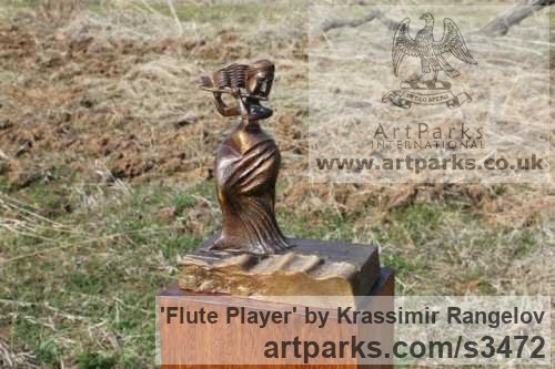 Bronze Females Women Girls Ladies sculpture statuettes figurines sculpture by sculptor Krassimir Rangelov titled: 'Flute Player (small/Little bronze female Musician Figurine/statuetfe)'