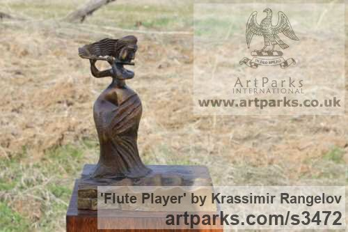 Bronze Females Women Girls Ladies sculpture statuettes figurines sculpture by sculptor Krassimir Rangelov titled: 'Flute Player (small/Little bronze female Musician Figurine/statuetfe)' - Artwork View 2