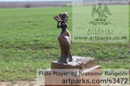 Bronze Females Women Girls Ladies sculpture statuettes figurines sculpture by sculptor Krassimir Rangelov titled: 'Flute Player (small/Little bronze female Musician Figurine/statuetfe)' - Artwork View 3