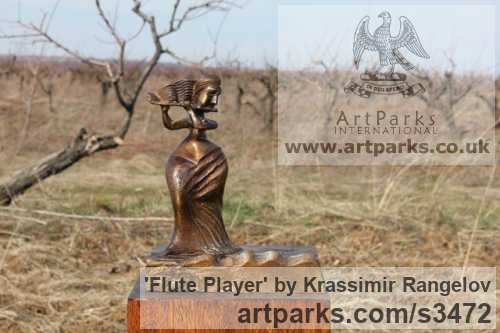Bronze Females Women Girls Ladies sculpture statuettes figurines sculpture by sculptor Krassimir Rangelov titled: 'Flute Player (small/Little bronze female Musician Figurine/statuetfe)' - Artwork View 4