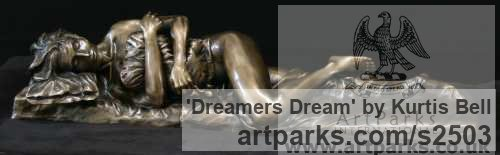 Bronze Females Women Girls Ladies sculpture statuettes figurines sculpture by sculptor Kurtis Bell titled: 'Dreamers Dream (Small Naked nude Beautiful Girl sculpturette)'