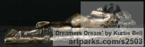 Bronze Females Women Girls Ladies sculpture statuettes figurines sculpture by sculptor Kurtis Bell titled: 'Dreamers Dream (Small Naked nude Beautiful Girl sculpturette)' - Artwork View 2