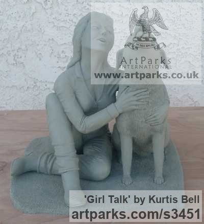 Warm Cast Bronze. Clay in pictures. Dogs sculpture by sculptor Kurtis Bell titled: 'Girl Talk (Bronze Effect Girl and Dog Cuddle sculpturette)'