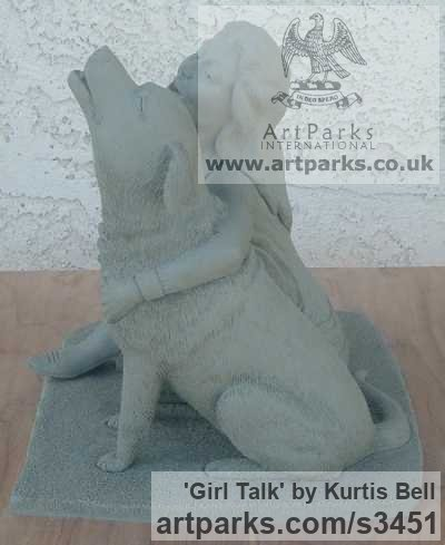 Warm Cast Bronze. Clay in pictures. Dogs sculpture by sculptor Kurtis Bell titled: 'Girl Talk (Bronze Effect Girl and Dog Cuddle sculpturette)' - Artwork View 2