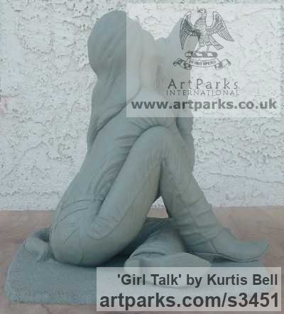 Warm Cast Bronze. Clay in pictures. Dogs sculpture by sculptor Kurtis Bell titled: 'Girl Talk (Bronze Effect Girl and Dog Cuddle sculpturette)' - Artwork View 4