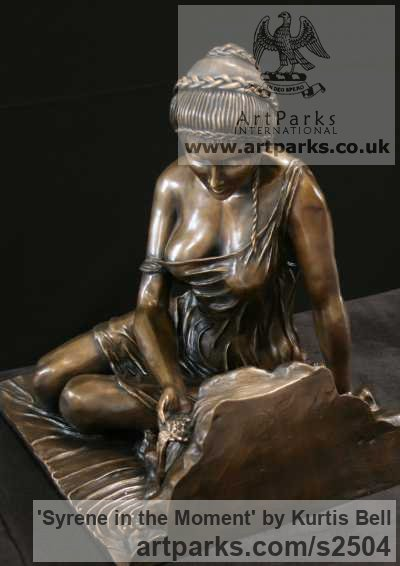 Bronze Females Women Girls Ladies sculpture statuettes figurines sculpture by sculptor Kurtis Bell titled: 'Syrene in the moment (Bronze Semi Naked female and water sculpture)' - Artwork View 2
