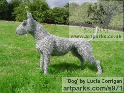 Metal Dogs sculpture by sculptor Lucia Corrigan titled: 'Dog (Recycled Wire Metal Netting garden sculptures)' - Artwork View 1