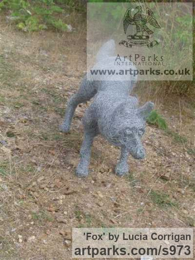 Metal Chicken Wire Netting/ Mesh Garden Or Yard / Outside and Outdoor sculpture by sculptor Lucia Corrigan titled: 'Fox (Meta lChicken Wire Mesh life size Dog Fox garden or Yard statue)' - Artwork View 3