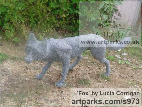 Metal Chicken Wire Netting/ Mesh Garden Or Yard / Outside and Outdoor sculpture by sculptor Lucia Corrigan titled: 'Fox (Meta lChicken Wire Mesh life size Dog Fox garden or Yard statue)' - Artwork View 4