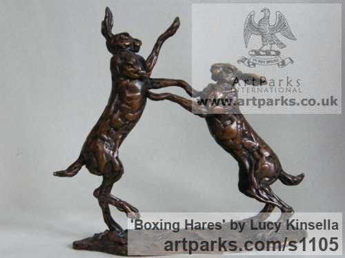 Bronze Field Sports, Game Birds and Game Animals sculpture by sculptor Lucy Kinsella titled: 'Boxing Hares (Small/Little Bronze Mad March statuettes, sculptures)' - Artwork View 1