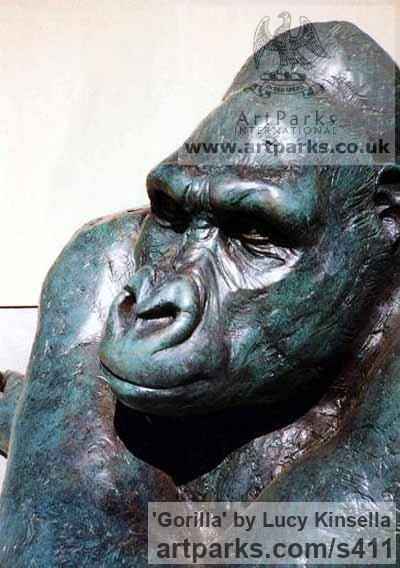 Resin and Steel Wild Animals and Wild Life sculpture by sculptor Lucy Kinsella titled: 'Gorilla (Bronze resin Seated thinking life size statue/sculpture)'