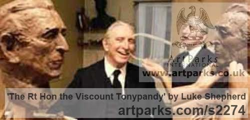 Bronze Portrait Sculptures / Commission or Bespoke or Customised sculpture by sculptor Luke Shepherd titled: 'The Rt Hon the Viscount Tonypandy (bronze Commission Bust statues)' - Artwork View 2
