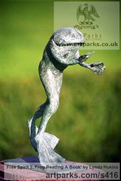 Bronze Garden Or Yard / Outside and Outdoor sculpture by sculptor Lynda Hukins titled: 'Free Spirit 2 (Outsize Large garden Happy Frog Outdoor sculpture)'