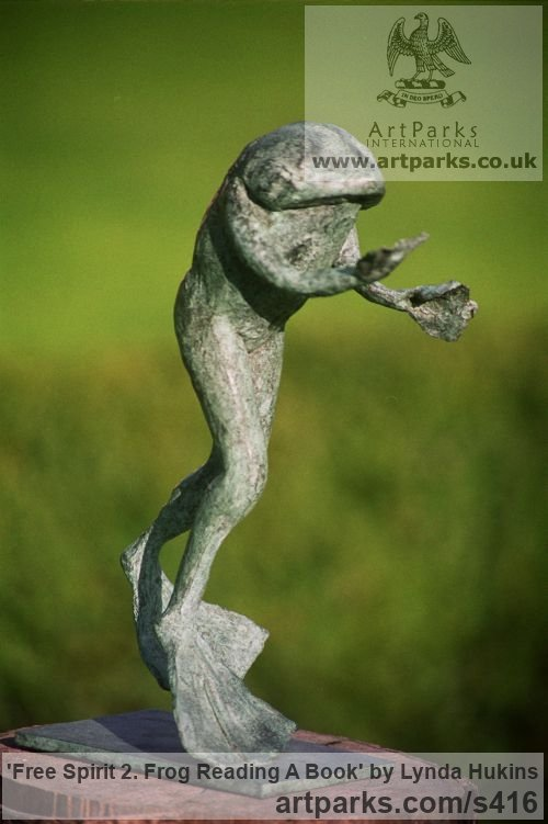 Bronze Garden Or Yard / Outside and Outdoor sculpture by sculptor Lynda Hukins titled: 'Free Spirit 2 (Outsize Large garden Happy Frog Outdoor sculpture)' - Artwork View 2