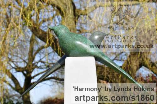 Bronze Varietal Mix of Bird Sculptures or sculpture by sculptor Lynda Hukins titled: 'Harmony (Bronze Stylised Minimalist abstract Contemporary garden statue)'