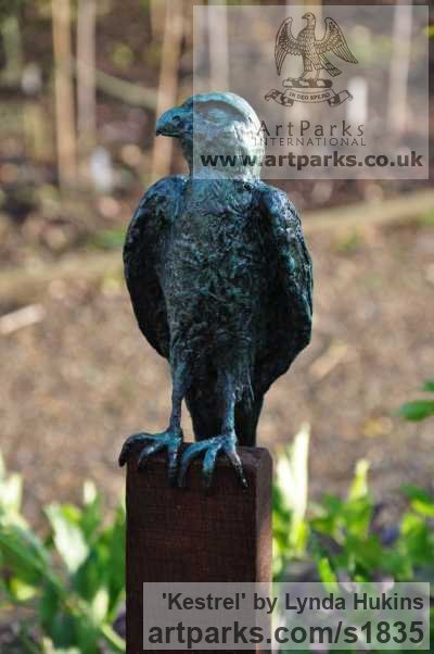 Bronze Varietal Mix of Bird Sculptures or sculpture by sculptor Lynda Hukins titled: 'Kestrel (Contemporary Raptor Hawk Bird of Prey garden sculpture)' - Artwork View 2