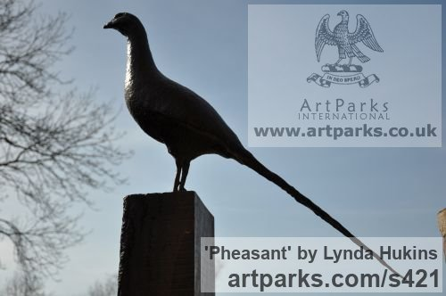 Bronze Field Sports, Game Birds and Game Animals sculpture by sculptor Lynda Hukins titled: 'Pheasant (Cock Game Bird life size Minimalist Contemporary statue)' - Artwork View 2