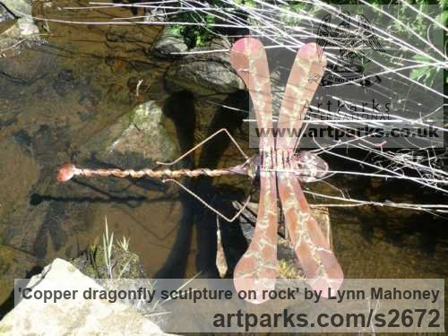 Copper Water Features, Fountains and Cascades sculpture by sculptor Lynn Mahoney titled: 'Copper dragonfly sculpture on rock' - Artwork View 2
