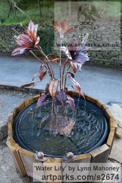 Copper Garden Or Yard / Outside and Outdoor sculpture by sculptor Lynn Mahoney titled: 'Copper Lily (Sculptural Water Fountain Feature statues/sculptures)'