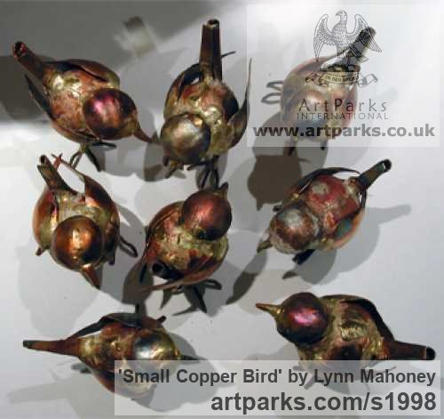 Copper Varietal Mix of Bird Sculptures or sculpture by sculptor Lynn Mahoney titled: 'Small Copper Bird sculptures'