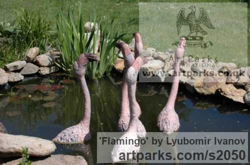 Varietal Mix of Bird Sculptures or sculpture by sculptor Lyubomir Ivanov titled: 'Flamingo (ceramic Outdoor Outside Exterior garden sculpture)' - Artwork View 2