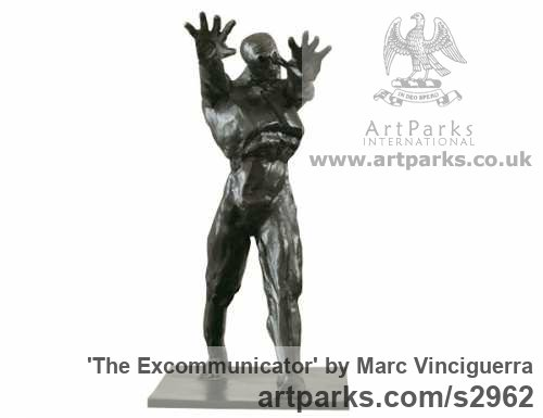 Bronze Male Men Youths Masculine sculpturettes figurines sculpture by sculptor Marc Vinciguerra titled: 'The Excommunicator (Small Bronze Semi abstract Strong Man statues)'