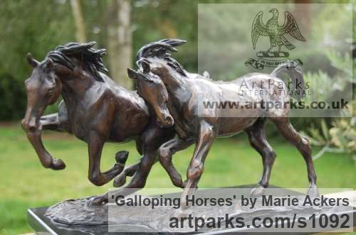 Bronze Horse Sculpture / Equines Race Horses Pack HorseCart Horses Plough Horsess sculpture by sculptor Marie Ackers titled: 'Galloping Horses (Solid Little bronze sculptures/statues/statuette)'