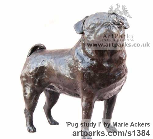 Bronze or resin Dogs sculpture by sculptor Marie Ackers titled: 'Pug study I (Bronze resin Standing Pug Dog statue/sculptures)'