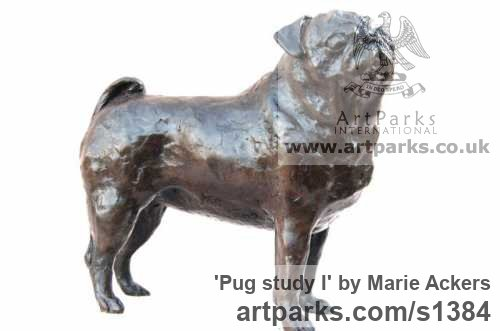 Bronze or resin Dogs sculpture by sculptor Marie Ackers titled: 'Pug study I (Bronze resin Standing Pug Dog statue/sculptures)' - Artwork View 2