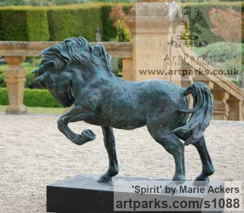 Cold Cast resin Bronze ( also available in bronze) Horse Sculpture / Equines Race Horses Pack HorseCart Horses Plough Horsess sculpture by sculptor Marie Ackers titled: 'Spirit (Little Bronze Stallion Pacing and Pawing, statuette/statue)'
