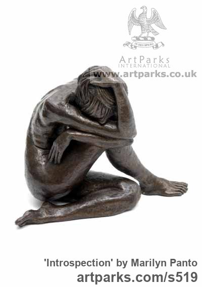 Bronze Garden Or Yard / Outside and Outdoor sculpture by sculptor Marilyn Panto titled: 'Introspection (nude Young Woman Sitting Thinking statues/sculptures)' - Artwork View 2