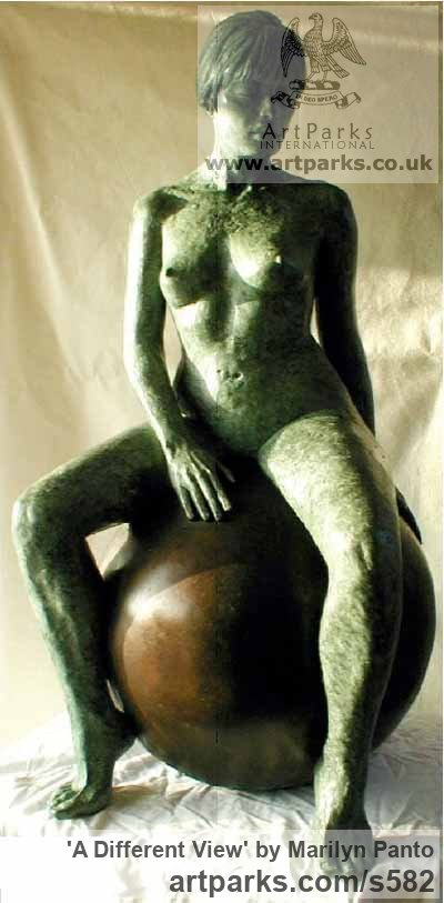 Bronze Garden Or Yard / Outside and Outdoor sculpture by sculptor Marilyn Panto titled: 'A Different View (Lovely bronze Yard/garden nude Girl Sitting sculpture)' - Artwork View 1
