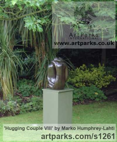 Bronze resin Abstract Contemporary Modern Outdoor Outside Garden / Yard sculpture statuary sculpture by sculptor Marko Humphrey-Lahti titled: 'Hugging Couple VIII (Contemporary Minimalist statue)'