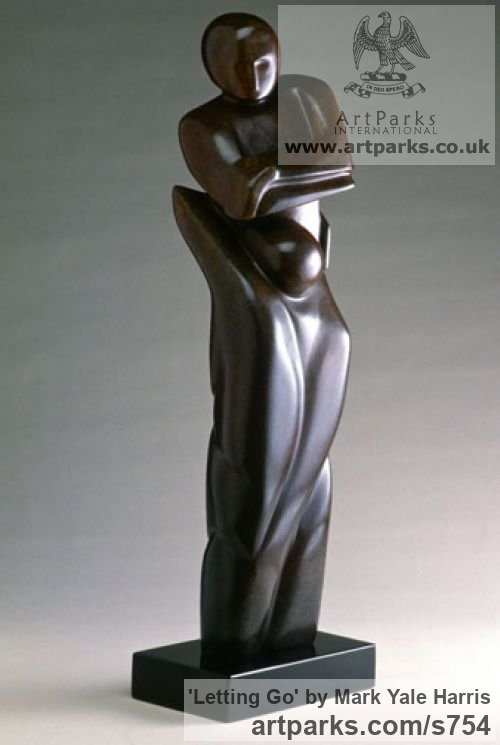 Colorado yule marble Females Women Girls Ladies sculpture statuettes figurines by sculptor Mark Yale Harris titled: 'Letting Go (sculptures of lovers)' - Artwork View 1