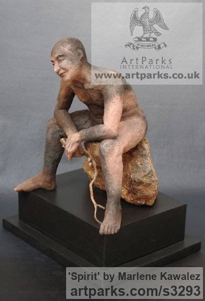 Stoneware clay and wood. Male Men Youths Masculine sculpturettes figurines sculpture by sculptor Marlene Kawalez titled: 'Spirit (Seated nude Male ceramic Wood Spirit Musing statuette)' - Artwork View 1