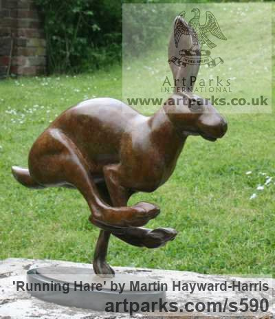 Bronze Garden Or Yard / Outside and Outdoor sculpture by sculptor Martin Hayward-Harris titled: 'Running Hare (Bronze Mad March Hare statues)' - Artwork View 2