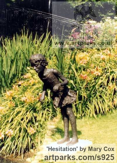 Cold Cast Resin Bronze Garden Or Yard / Outside and Outdoor sculpture by sculptor Mary Cox titled: 'Hesitation (Girl Child Playing garden/Yard Lifesize sculpture/statue)'
