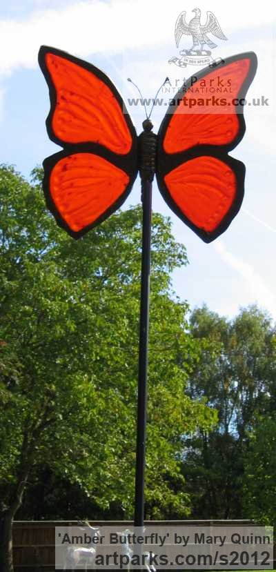 Resin Bronze and Resin Tinted Amber Garden Or Yard / Outside and Outdoor sculpture by sculptor Mary Quinn titled: 'Amber Butterfly (Large Coloured Outside garden statue)'