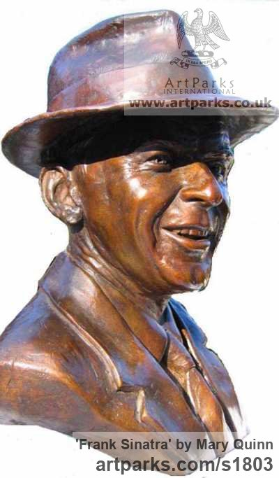 Bronze Famous People sculpture sculpture by sculptor Mary Quinn titled: 'Frank Sinatra (Bronze Bust Portrait Head Face sculpture)'