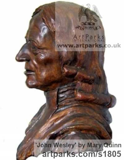 Bronze Portrait Sculptures / Commission or Bespoke or Customised sculpture by sculptor Mary Quinn titled: 'John Wesley (Bronze Portrait Bust Compassion sculptures)' - Artwork View 1