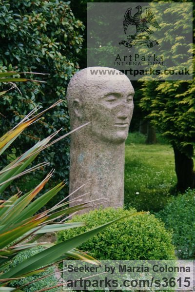 Bronze Garden Or Yard / Outside and Outdoor sculpture by sculptor Marzia Colonna titled: 'Seeker (Big Outsize Large abstract MinimalistMan`s Bust Head statues)'
